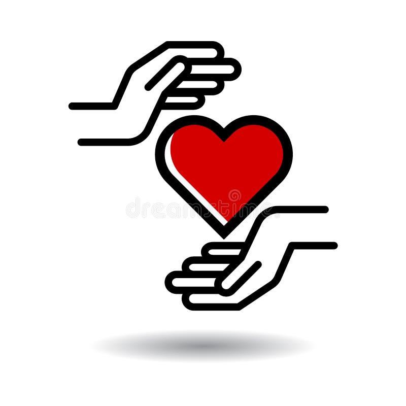 Coração no ícone das mãos ilustração royalty free