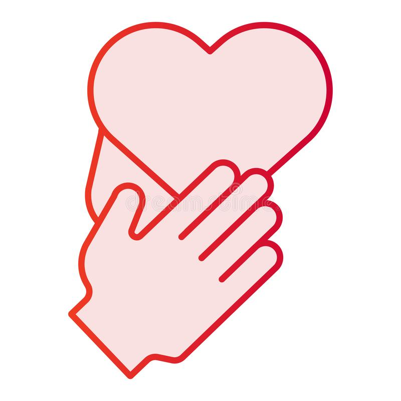 Coração no ícone liso das mãos Ícones cor-de-rosa do cuidado no estilo liso na moda Projeto do estilo do inclinação do amor, proj ilustração royalty free