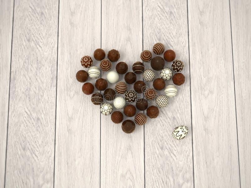 Coração no assoalho de madeira branco - vista superior dos ovos da páscoa do chocolate ilustração stock