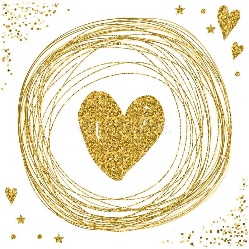 Coração no branco Textura do brilho do ouro ilustração stock