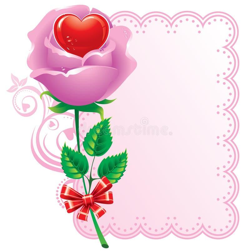 Coração no centro das rosas ilustração do vetor