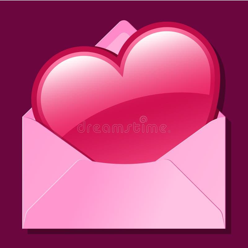 Coração no envelope cor-de-rosa ilustração royalty free