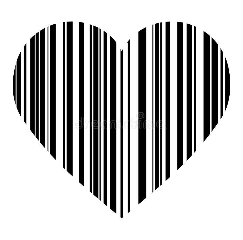 Coração no estilo do código de barras para o projeto ou a tatuagem do seu Valentim ilustração royalty free