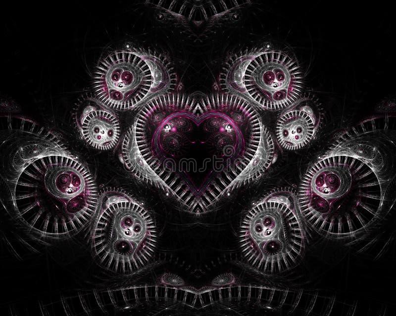 Coração no Fractal de prata ilustração stock