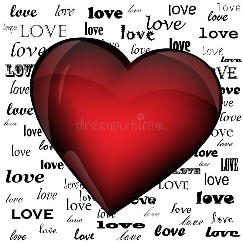 Coração no fundo do amor da palavra ilustração stock