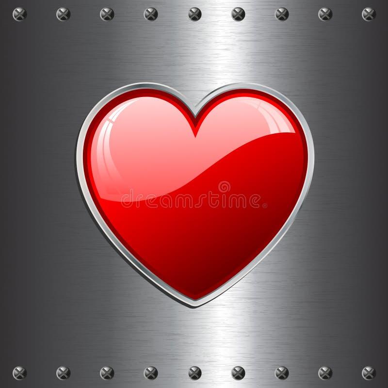 Coração no fundo do metal ilustração do vetor