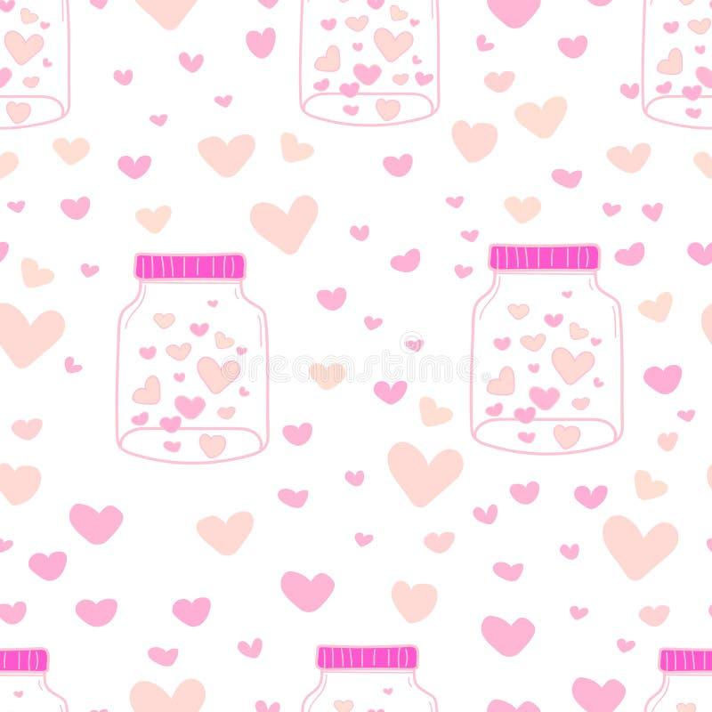 Coração no fundo do teste padrão dos frascos de pedreiro, teste padrão com interior de vidro do frasco e do coração, teste padrão ilustração do vetor