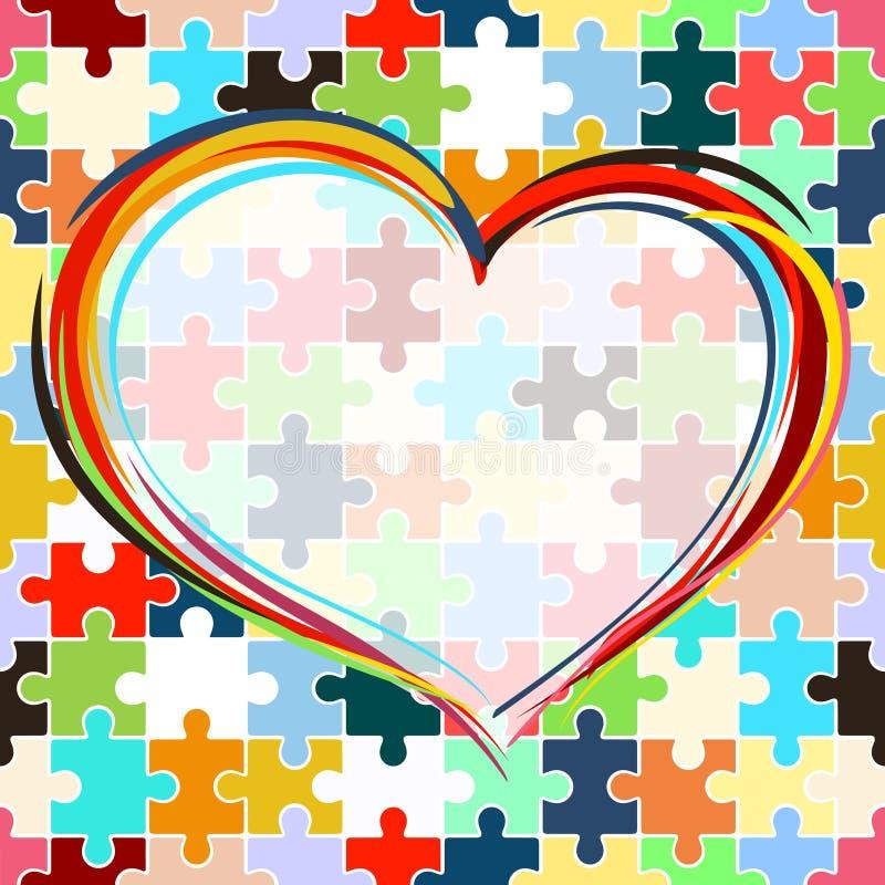 Coração no fundo sem emenda do enigma ilustração do vetor