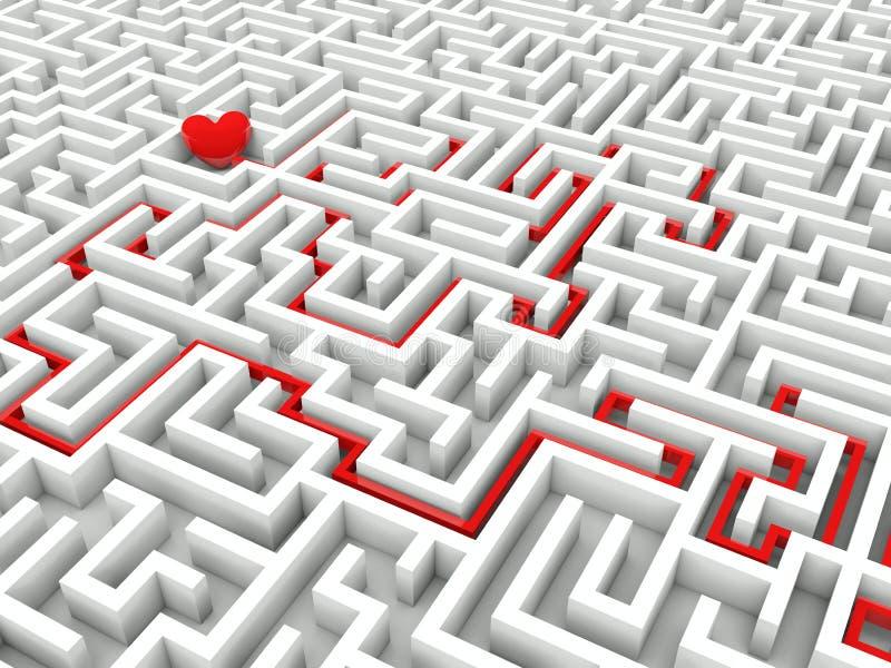 Coração no meio do labirinto ilustração royalty free