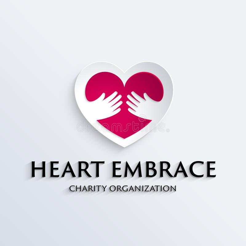 Coração no molde do logotipo do símbolo das mãos ilustração do vetor