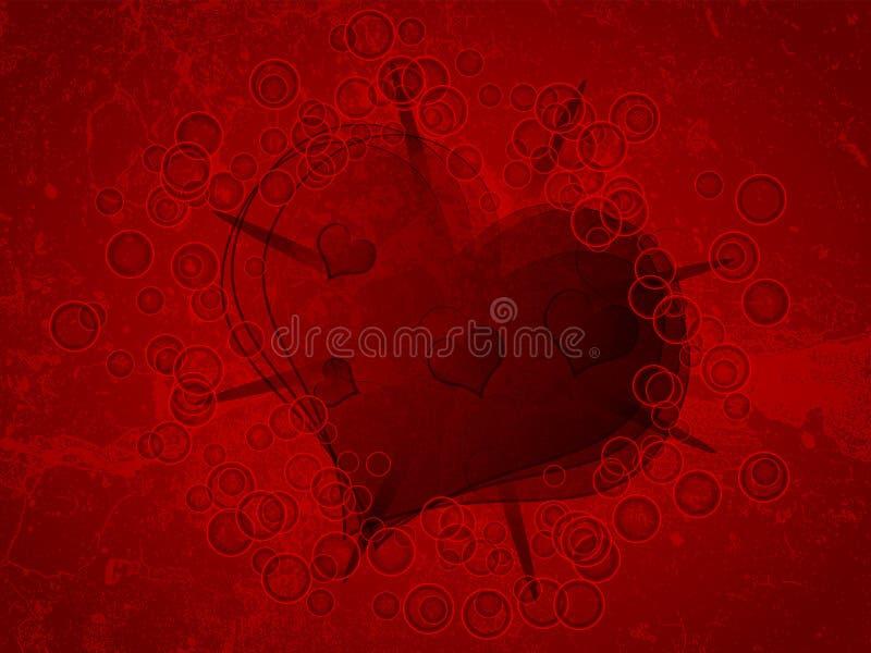Coração no nackground do grunge ilustração do vetor