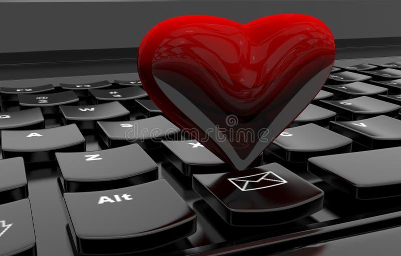 Coração no teclado de computador ilustração royalty free