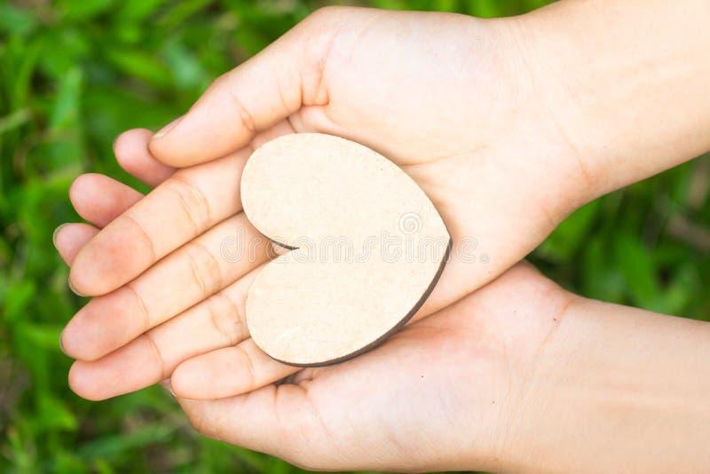 Coração pequeno nas mãos das mulheres no fundo natural foto de stock