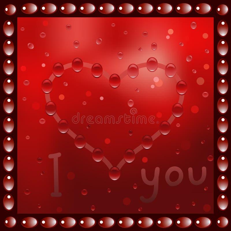 Coração pintado na janela Ilustração do vetor ilustração do vetor