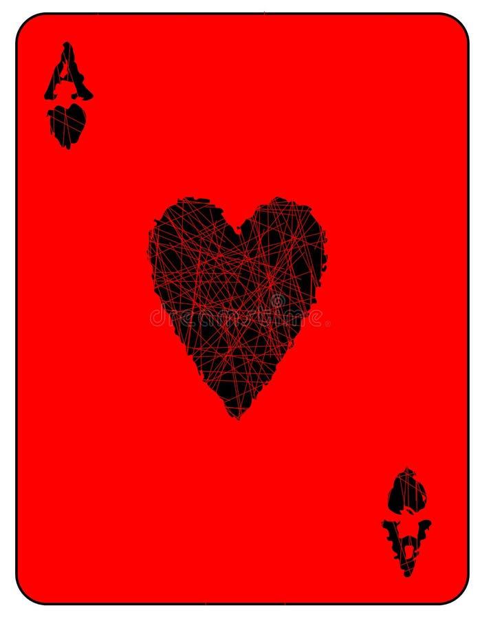 Coração preto Ace ilustração stock