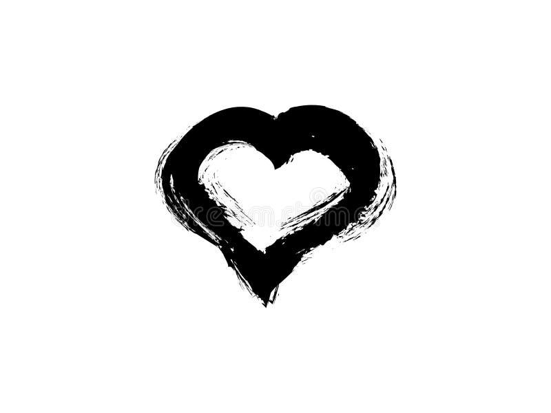 Coração preto do estilo livre ilustração royalty free