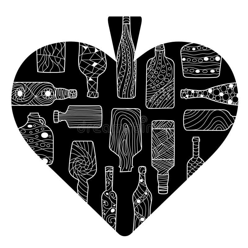 Coração preto dos desenhos animados das pás com as garrafas tiradas mão foto de stock royalty free