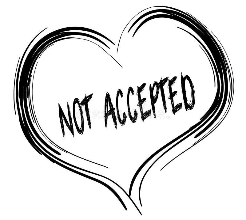 Coração preto esboçado com texto NÃO ACEITADO ilustração stock
