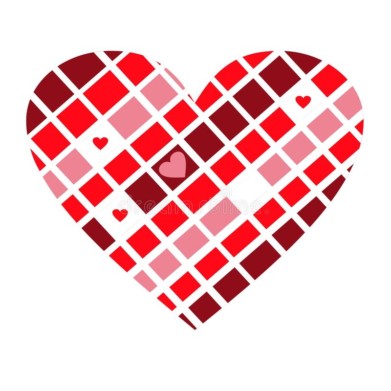 Coração quadriculado engraçado de cor-de-rosa, de vermelho, o branco e as cores do chocolate fotografia de stock