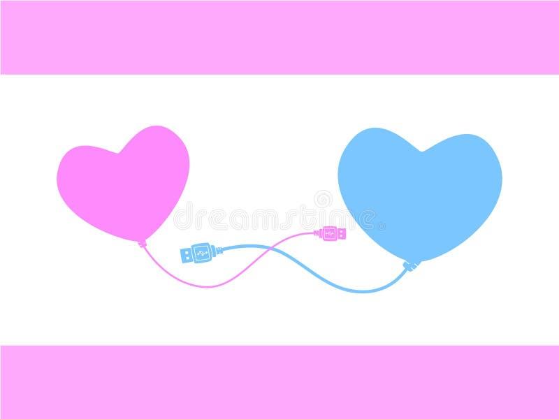 Coração que conecta ao coração ilustração do vetor