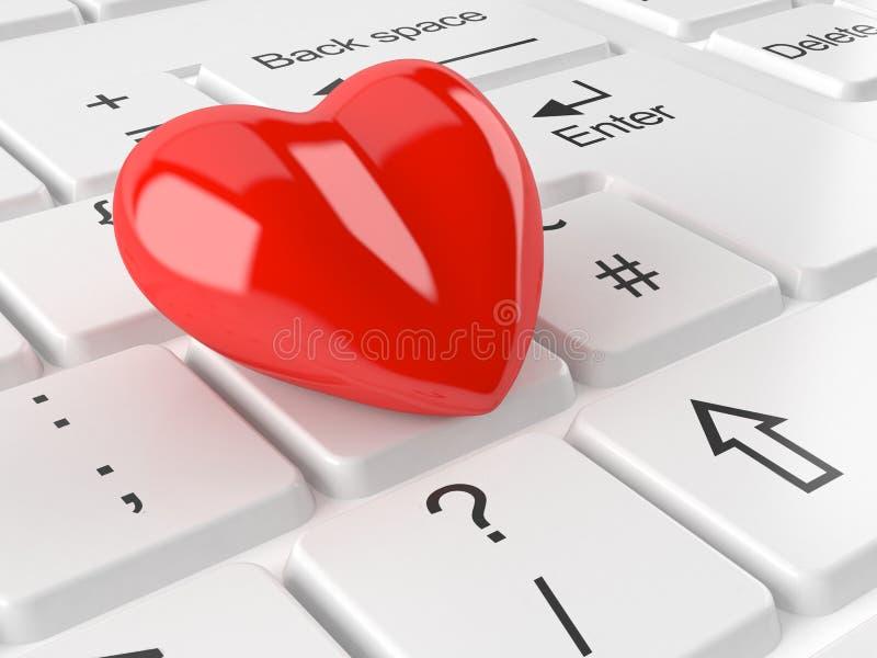 Coração que encontra-se no teclado de computador ilustração royalty free