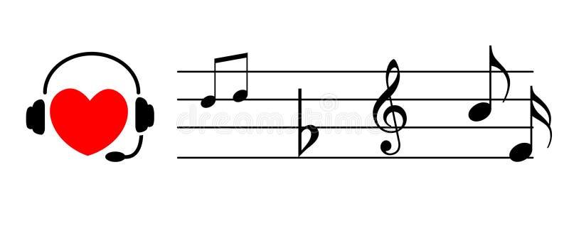 Coração que escuta a música ilustração do vetor
