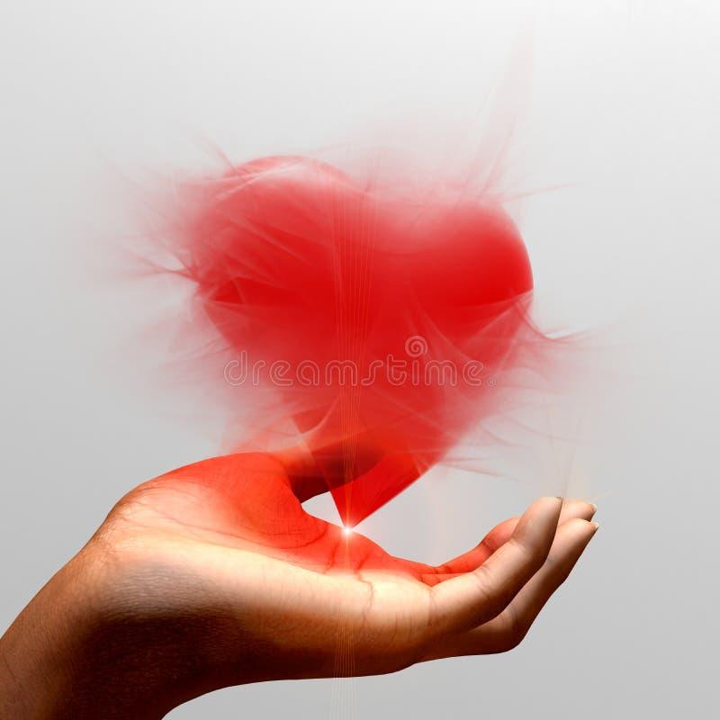 Coração que flutua em uma mão confirmada ilustração stock
