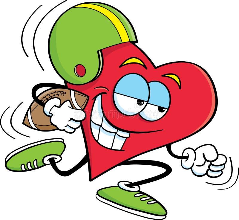 Coração que joga o futebol ilustração royalty free