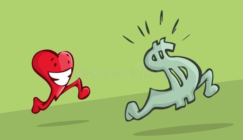Coração que persegue o sinal de dólar ilustração stock