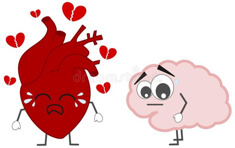 Coração que quebra contra a ilustração do conceito do cérebro ilustração do vetor