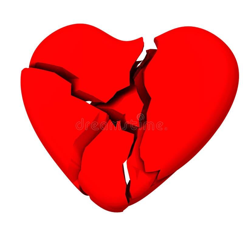 Coração quebrado 3d ilustração royalty free