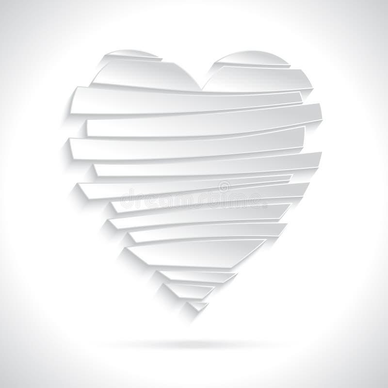 Coração quebrado branco ilustração do vetor