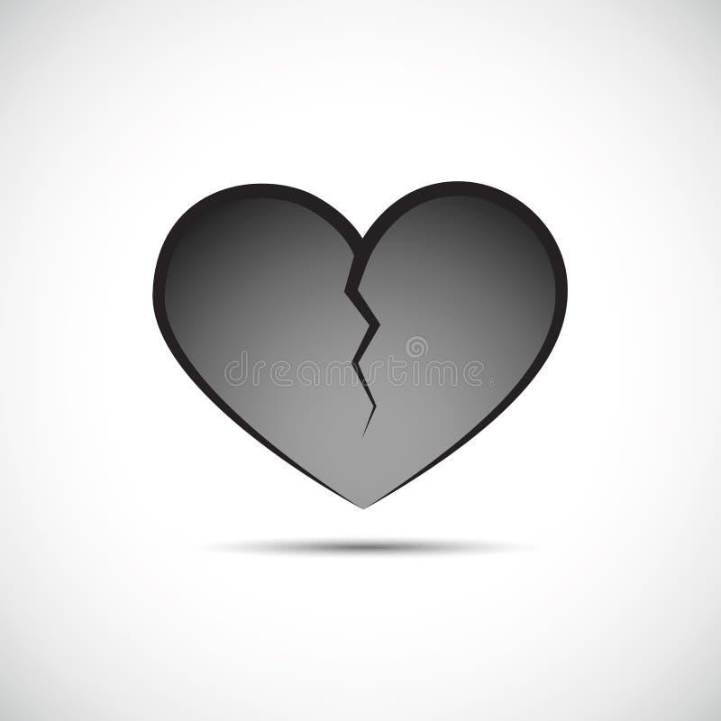 Coração quebrado cinzento isolado em um fundo branco ilustração stock