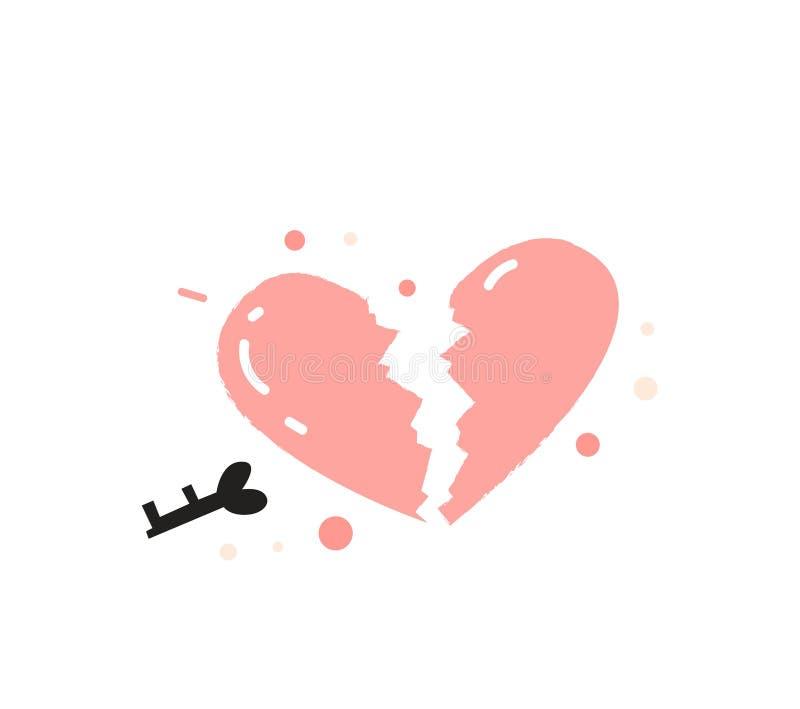 Coração quebrado com o ícone chave Ilustração do vetor ilustração stock