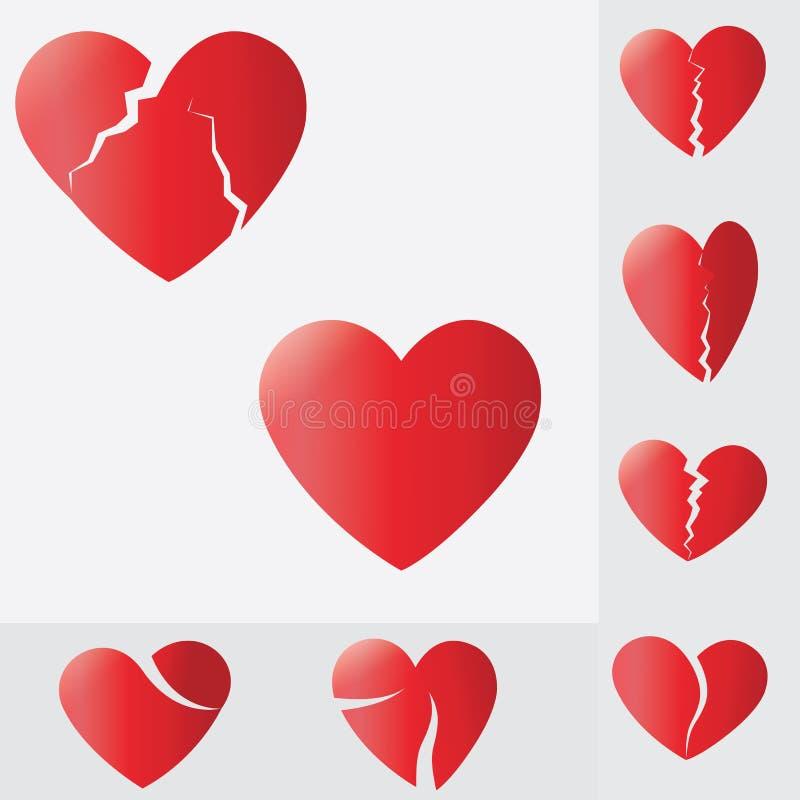 Coração quebrado, coração que racha e que quebra distante, símbolo do amor ilustração royalty free