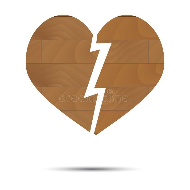 Coração quebrado de madeira ilustração royalty free