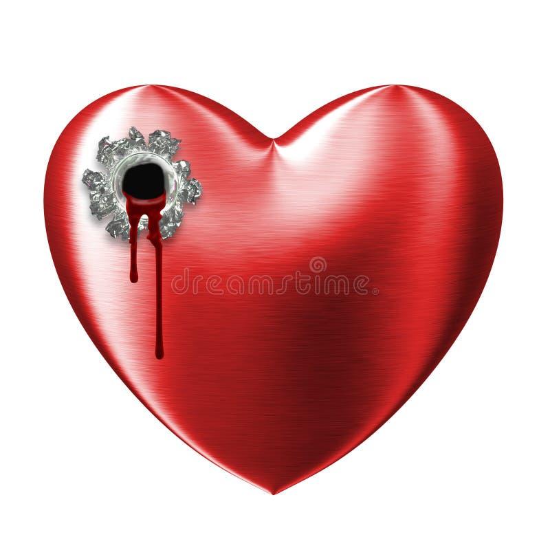 Coração quebrado do amor vermelho ferido do sangramento ilustração stock