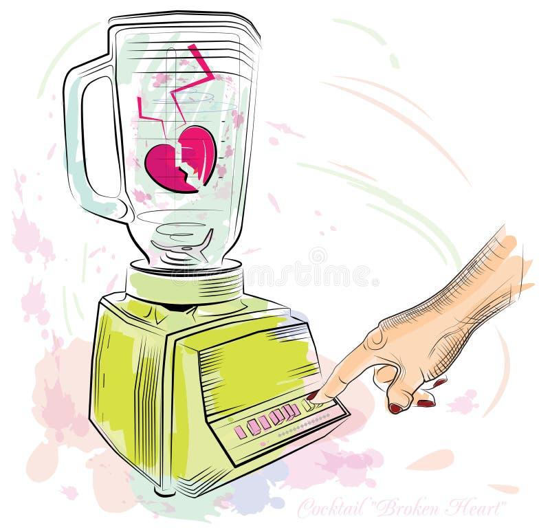 Coração quebrado do cocktail. Ilustração do vetor. ilustração stock