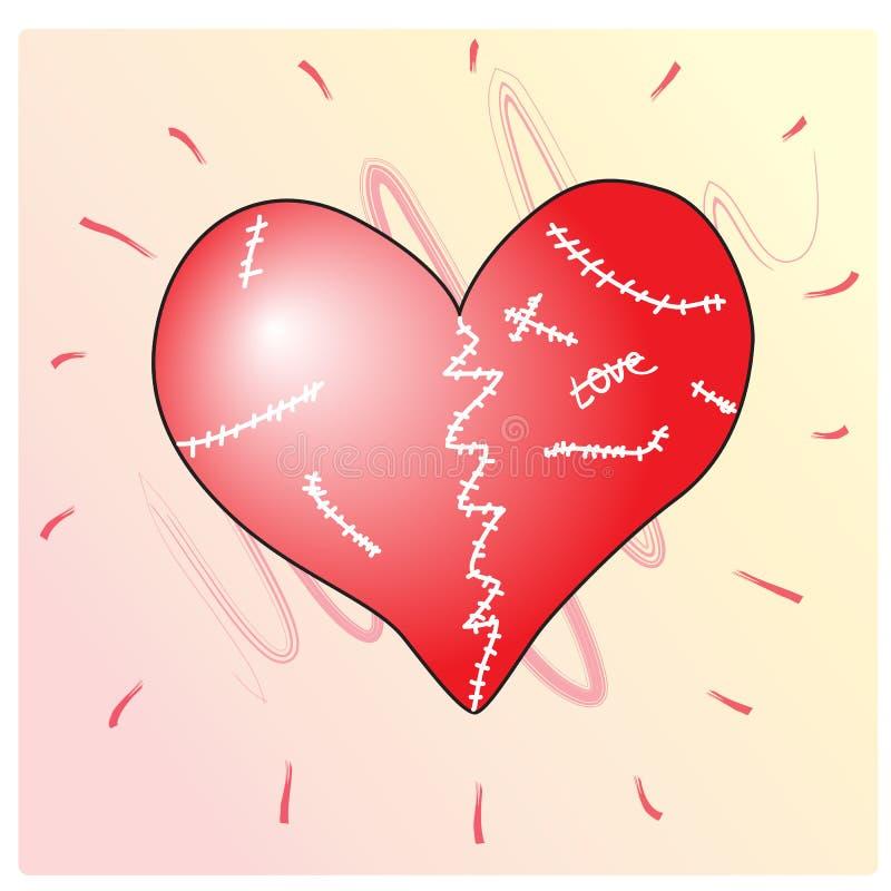 Coração quebrado e ferido ilustração do vetor