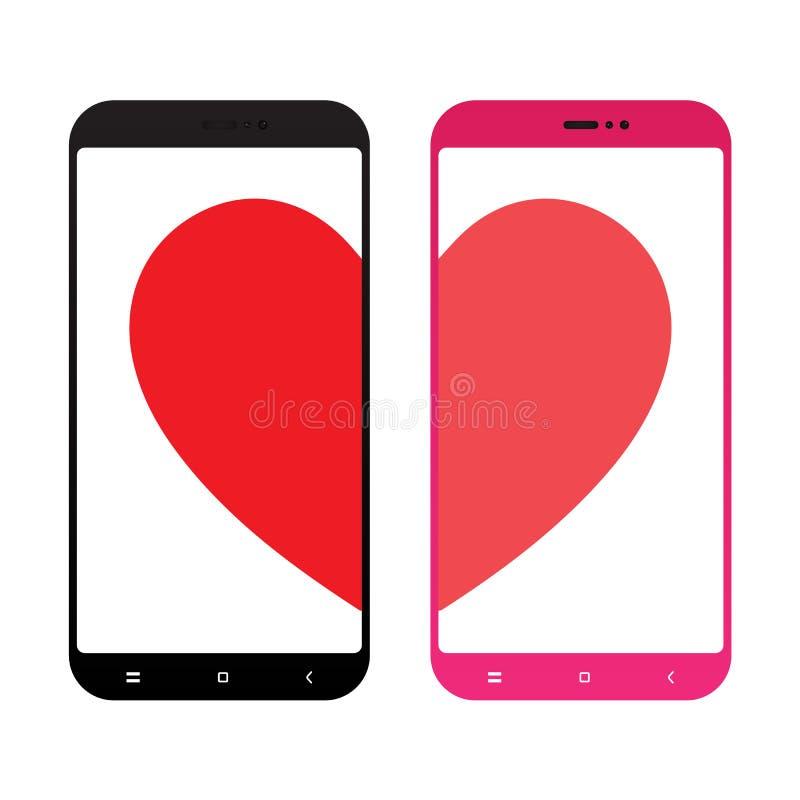 Coração quebrado na ilustração lisa do projeto do vetor do ícone da tela do telefone ilustração do vetor