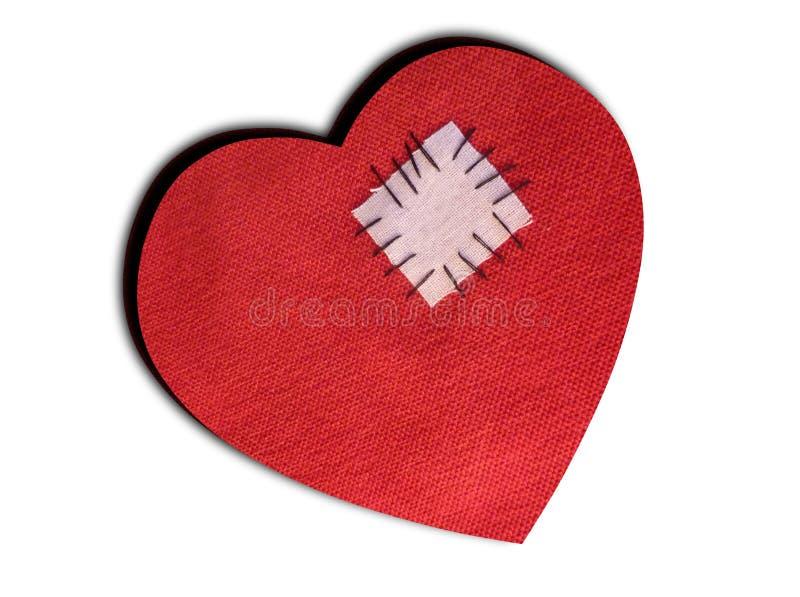 Coração quebrado reparado - isolado no branco fotografia de stock royalty free