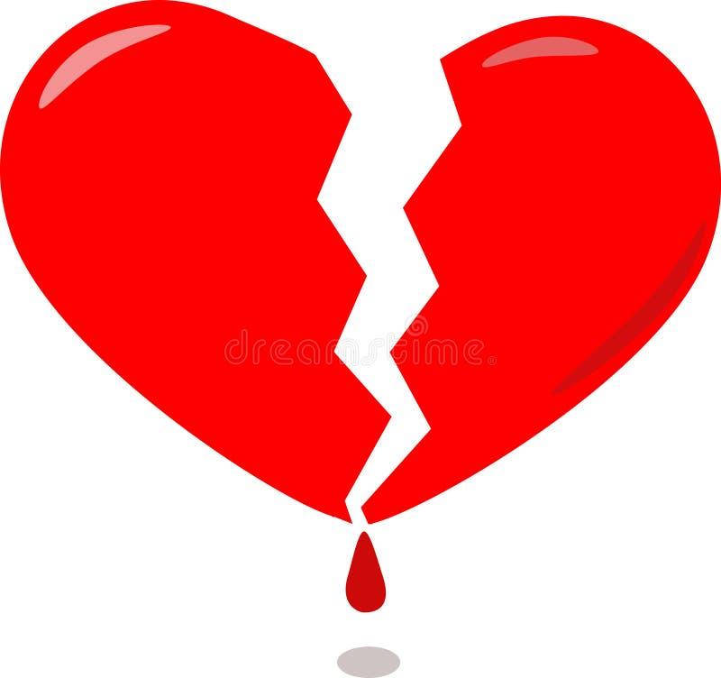 Coração quebrado vermelho ilustração do vetor