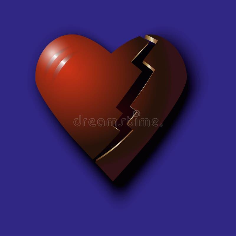 Coração quebrado vermelho fotografia de stock royalty free