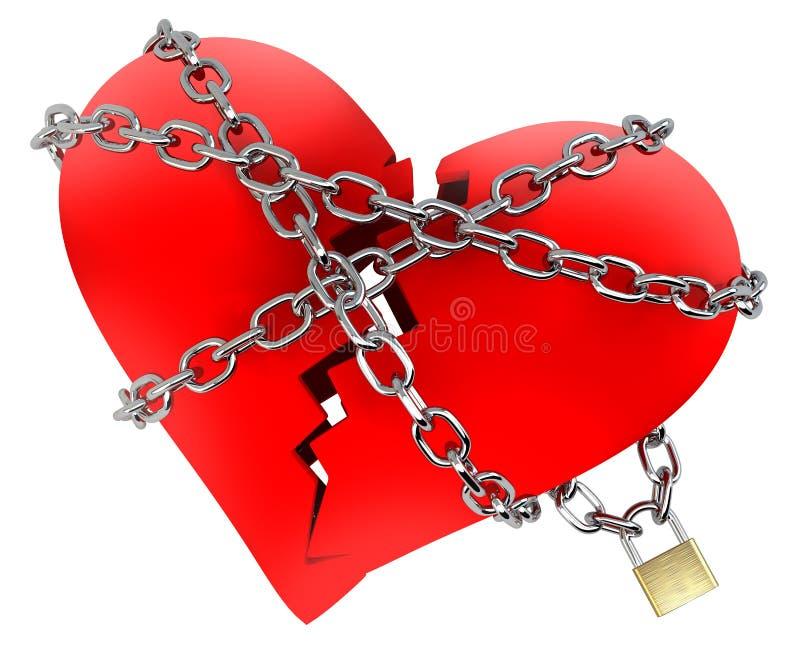 Coração quebrado vermelho, envolvido na corrente ilustração royalty free