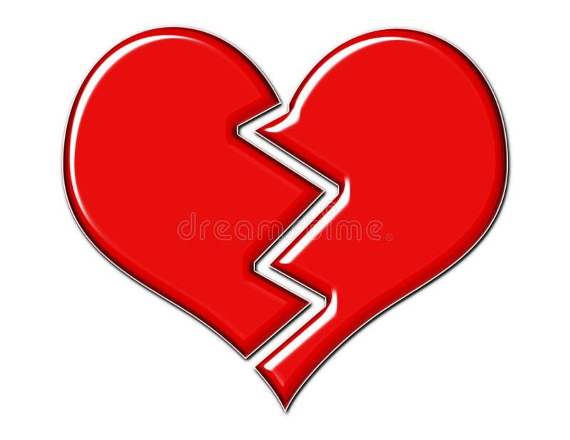 Coração quebrado vermelho rachado ilustração do vetor
