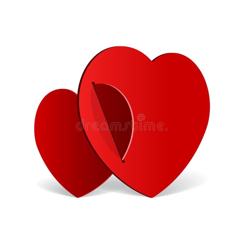 Coração realístico de dois vermelhos cortado do papel ilustração royalty free