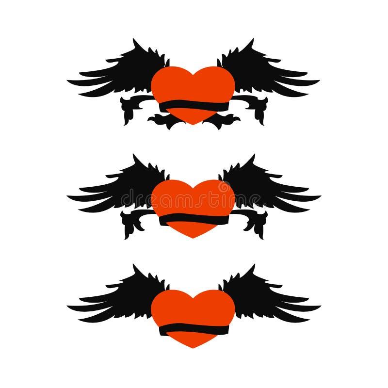 Coração retro ajustado com as asas para o projeto da tatuagem Versão do JPEG igualmente disponível ilustração do vetor