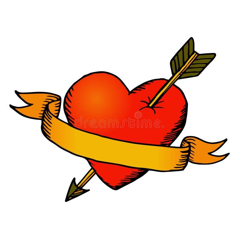 Coração retro com fita ilustração do vetor