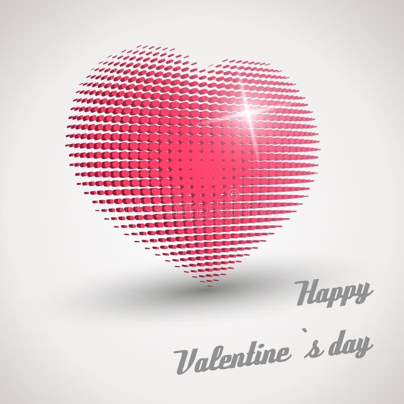 Coração retro cor-de-rosa do disco ilustração do vetor