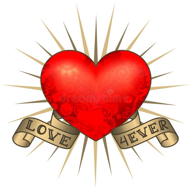 Coração retro da tatuagem com fitas do ouro Cartão feliz do dia do `s do Valentim ilustração do vetor